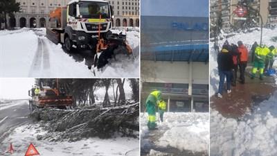 Los equipos de OHL Servicios y ELSAN continúan trabajando en la limpieza de vías tras el temporal.