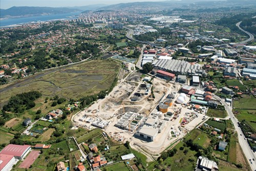 Vista aérea de la construcción de la EDAR de Lagares